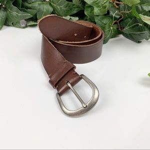 AEO Brown Real Cowhide Leather Basic Belt Unisex S